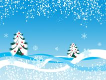 Winter snowflake landscape. With two christmas trees illustration Stock Images