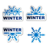 Winter snowflake promotional stickers Stock Photos