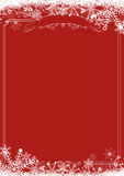 Winter snowflake retro border and Christmas red background backg Royalty Free Stock Photo