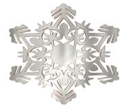 Winter snowflake silver color on a white background Stock Photography