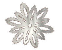 Winter snowflake silver color on a white background Royalty Free Stock Images