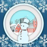 Winter Snowflake Snowman Circle Photoframe Vector Image. Christmas vector hat winter snowman merry illustration circle new white year label sale background Stock Image