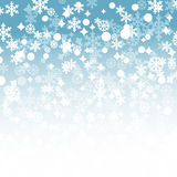 Winter snowflakes background. Blue winter background with snowflakes and stars Stock Illustration