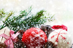 Winter - snowflakes and christmas balls Stock Photography