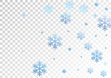 Winter snowflakes and circles border vector illustration. Unusual gradient snow flakes isolated banner background. New Year. 2019 card border pattern template stock illustration