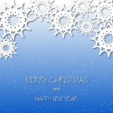 Winter snowflakes cut the paper. Falling snow. Blue gradient background. Christmas, New Year. Greeting card, invitation Stock Photo