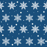 Winter snowflakes  on dark blue cover. Seamless pattern background for use in design Royalty Free Stock Photos