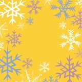 Winter snowflakes frame. Vector illustration of blue, pink and white snowflakes on yellow background. Hand drawn winter snowflakes frame. Vector illustration of royalty free illustration