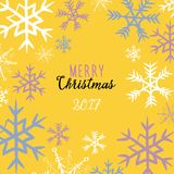 Winter snowflakes frame. Vector illustration of pink, blue and white snowflakes on yellow background. Merry Christmas 2017 written. Hand drawn winter snowflakes stock illustration