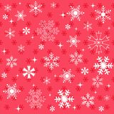 Winter snowflakes red background Stock Photo