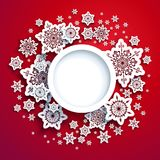 Winter snowflakes red card Royalty Free Stock Photos