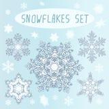 Winter Snowflakes Set Stock Photos