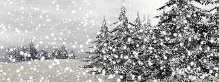 Winter snowing landscape - 3D render Royalty Free Stock Image