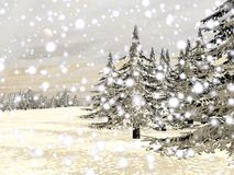 Winter snowing landscape - 3D render Stock Image