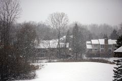 Winter snowing scene with houses and trees in background. During snow storm royalty free stock photos