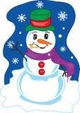 Winter Snowman. Full color vibrant illustration of a cheery winter snowman Royalty Free Illustration