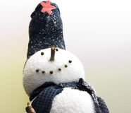 Winter snowman. A wonderful realistic snowman stands confident and happy royalty free stock photos