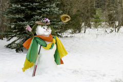 Winter snowman baseball and bat Royalty Free Stock Photos