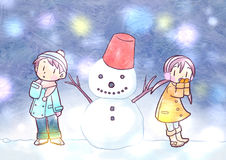 Winter snowman and boys and girls Stock Photos
