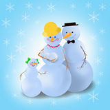 Winter snowman family. Mummy, daddy and two kids on the blue background Vector Illustration