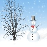 Winter Snowman Illustration Stock Photo