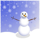 Winter Snowman Scene Stock Image