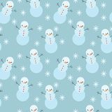 Winter snowman seamless pattern. Royalty Free Stock Image