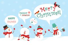 Winter snowman set. Funny snowmen in different suits with congratulations. Vector illustration.  Stock Images