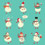 Winter snowman set. Funny snowmen in different suits. Vector. Winter snowman set. Funny snowmen in different suits. Vector illustration Stock Photo