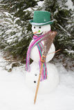 Winter - snowman in a snowy landscape with a hat Stock Photography