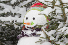 Winter - snowman in a snowy landscape with a hat Royalty Free Stock Photos