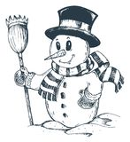 Winter Snowman Theme Drawing 1 Royalty Free Stock Photography
