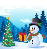 Winter snowman theme image 5 Royalty Free Stock Photography