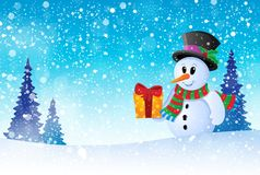 Winter snowman theme image 8 Royalty Free Stock Image