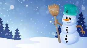 Winter snowman topic image 4 Royalty Free Stock Photo