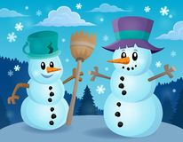 Winter snowmen thematics image 1 Royalty Free Stock Photography
