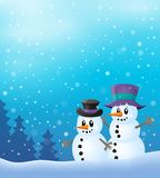 Winter snowmen thematics image 2 Royalty Free Stock Photo