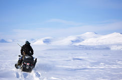 Winter Snowmobile Landscape Stock Image