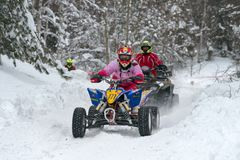 In winter on a snowmobile stock image