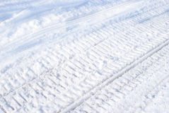 Winter Snowmobile Tracks Stock Photography