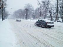 Winter snowstorm traffic Royalty Free Stock Photos