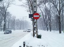 Winter snowstorm traffic Stock Photography