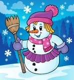Winter snowwoman topic image 2 Stock Photography