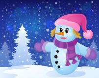 Winter snowwoman topic image 3 Stock Image