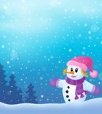 Winter snowwoman topic image 4 Royalty Free Stock Photos