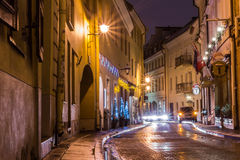 Winter snowy afternoon in the street. In December 2013 Vilnius Royalty Free Stock Image