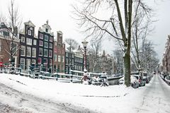 Winter in snowy Amsterdam in the Netherlands Royalty Free Stock Image