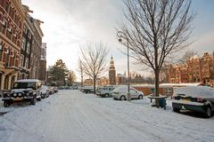 Winter in snowy Amsterdam in the Netherlands Royalty Free Stock Photos