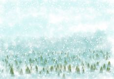 Winter with snowy background Stock Photos