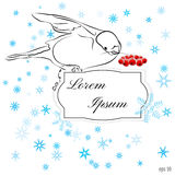 Winter snowy card with beautiful Bullfinch with branch of red ro. Wan and empty place for your text stock illustration